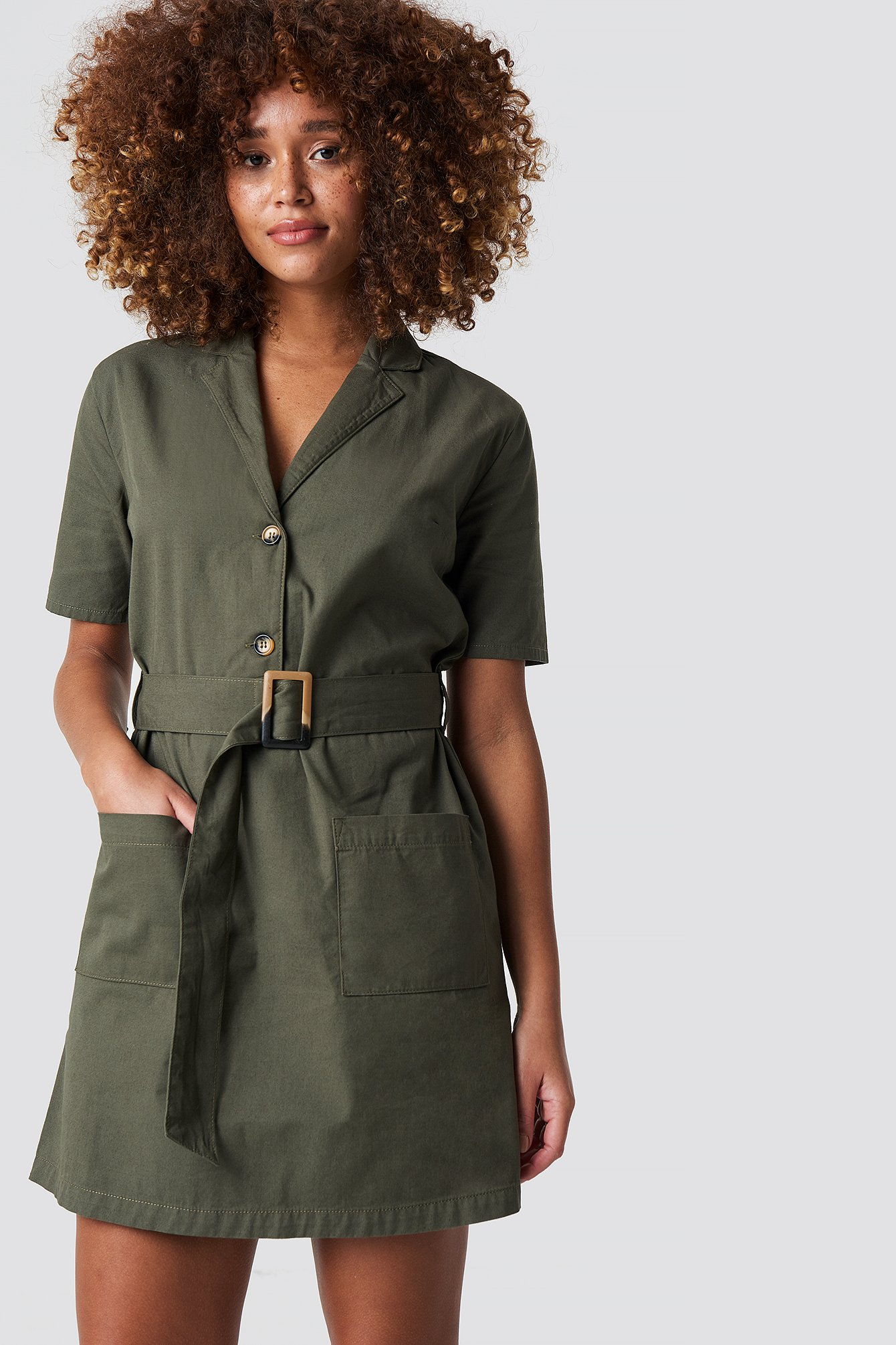 Belted Cargo Mini Dress NA-KD.COM