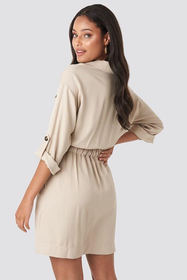 Belted Cargo Pockets Mini Dress Beige