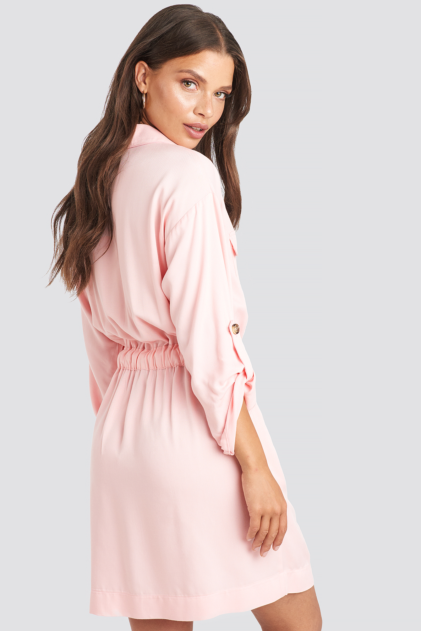 Dusty Pink Belted Cargo Pockets Mini Dress