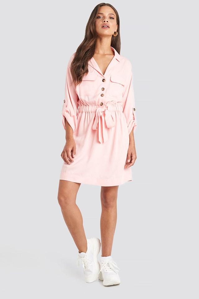 Belted Cargo Pockets Mini Dress Dusty Pink