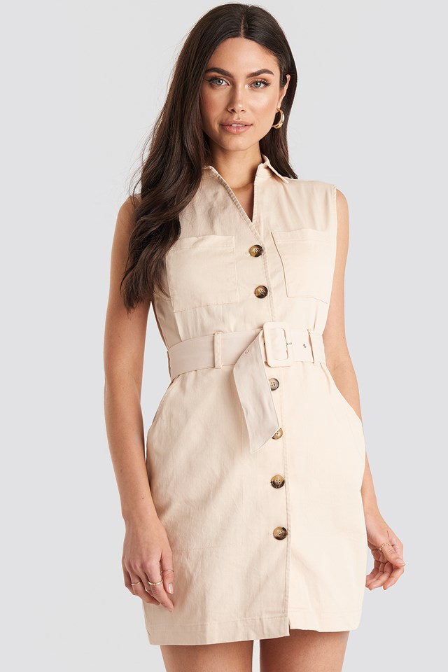 Belted Cargo Sleeveless Dress Sand