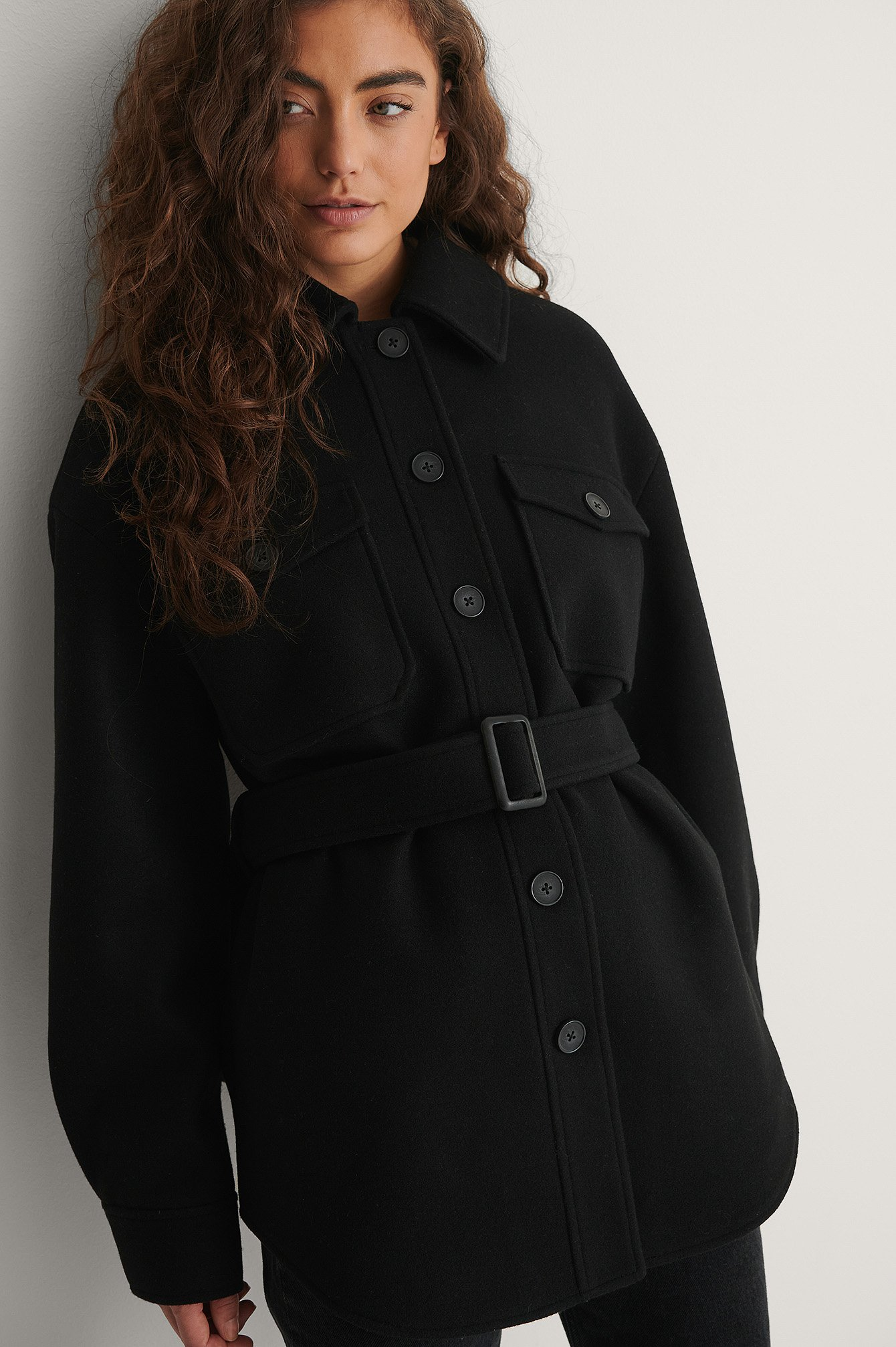 Black Belted Chest Pocket Jacket