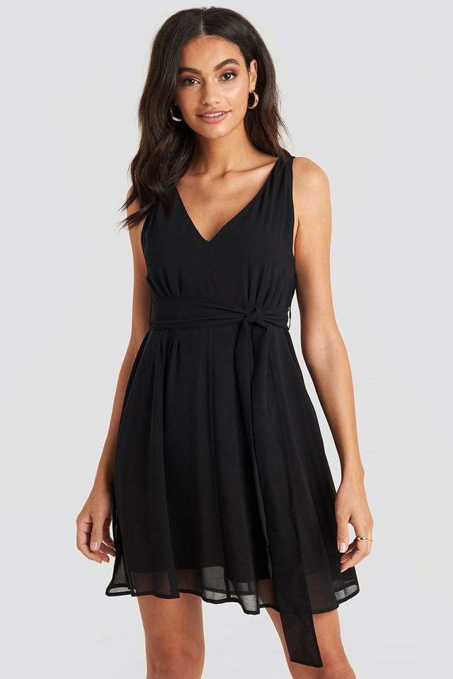 Belted Chiffon Mini Dress Deep Black