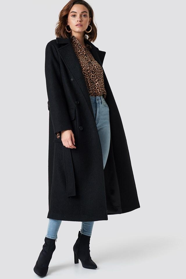 Płaszcz z paskiem Black