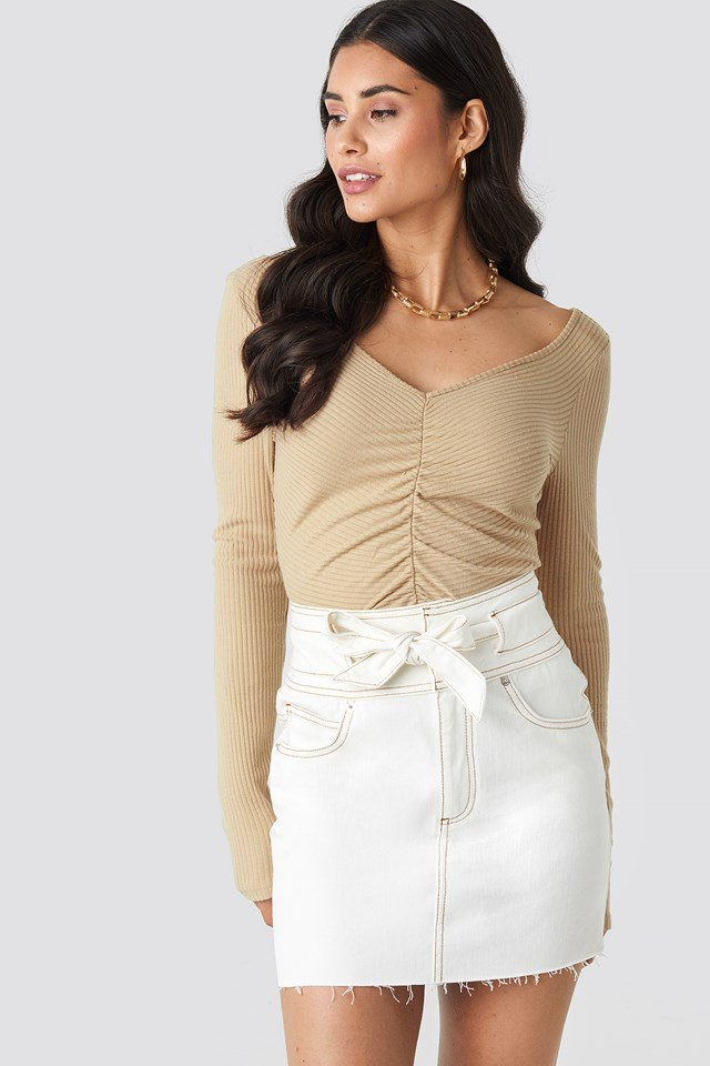 Belted Contrast Stitch Denim Mini Skirt Off White