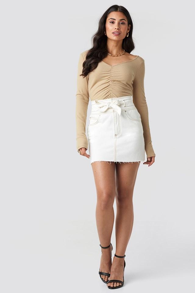 Belted Contrast Stitch Denim Mini Skirt Off White