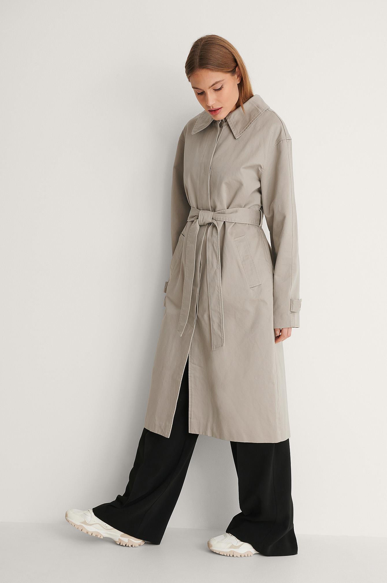 na-kd trend -  Mantel Mit Gürtel - Grey