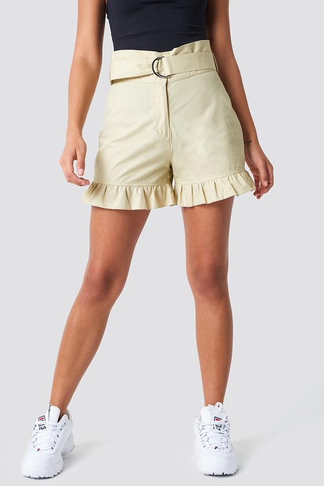 Belted Cotton Shorts Khaki