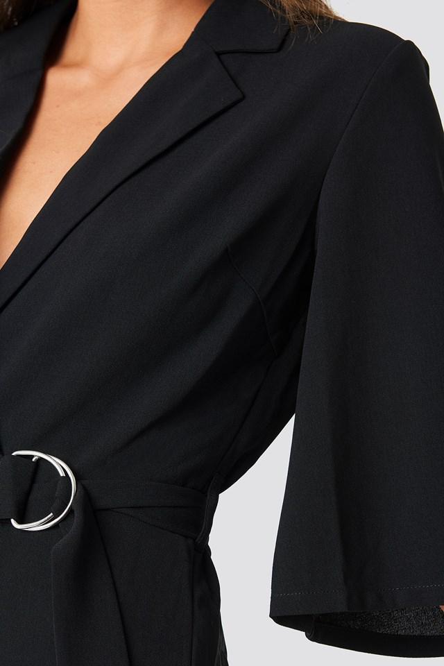 Belted Cropped Jumpsuit Black