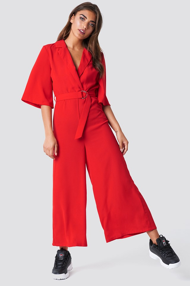 Belted Cropped Jumpsuit Red