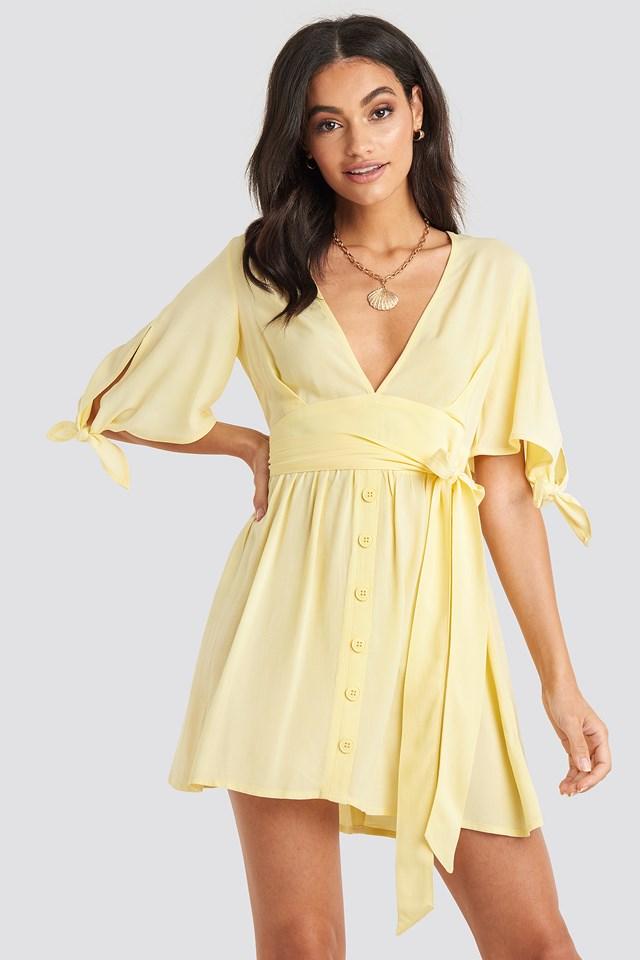 Belted Deep V Mini Dress Beige/Nude