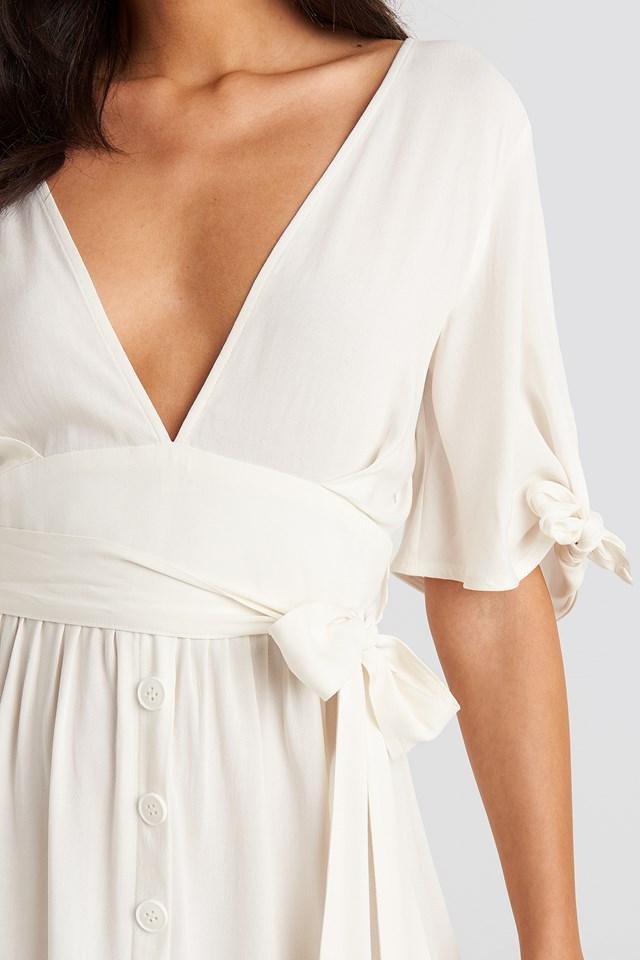 Belted Deep V Mini Dress Off White
