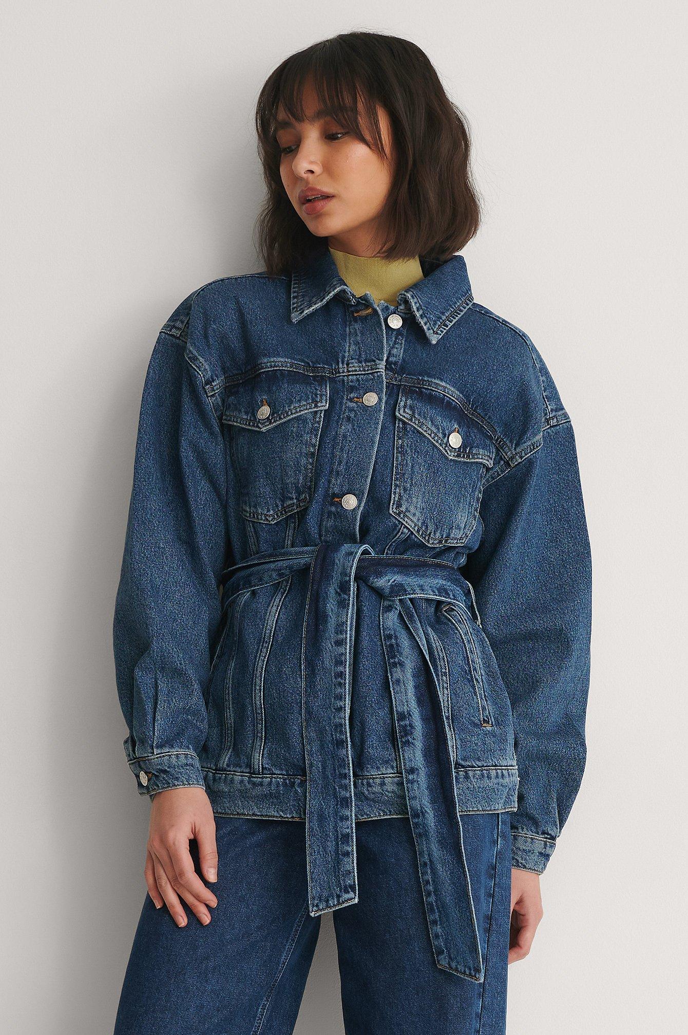 na-kd -  Organisch Jeansjacke Mit Gürtel - Blue