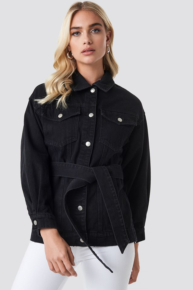 Belted Denim Jacket Black