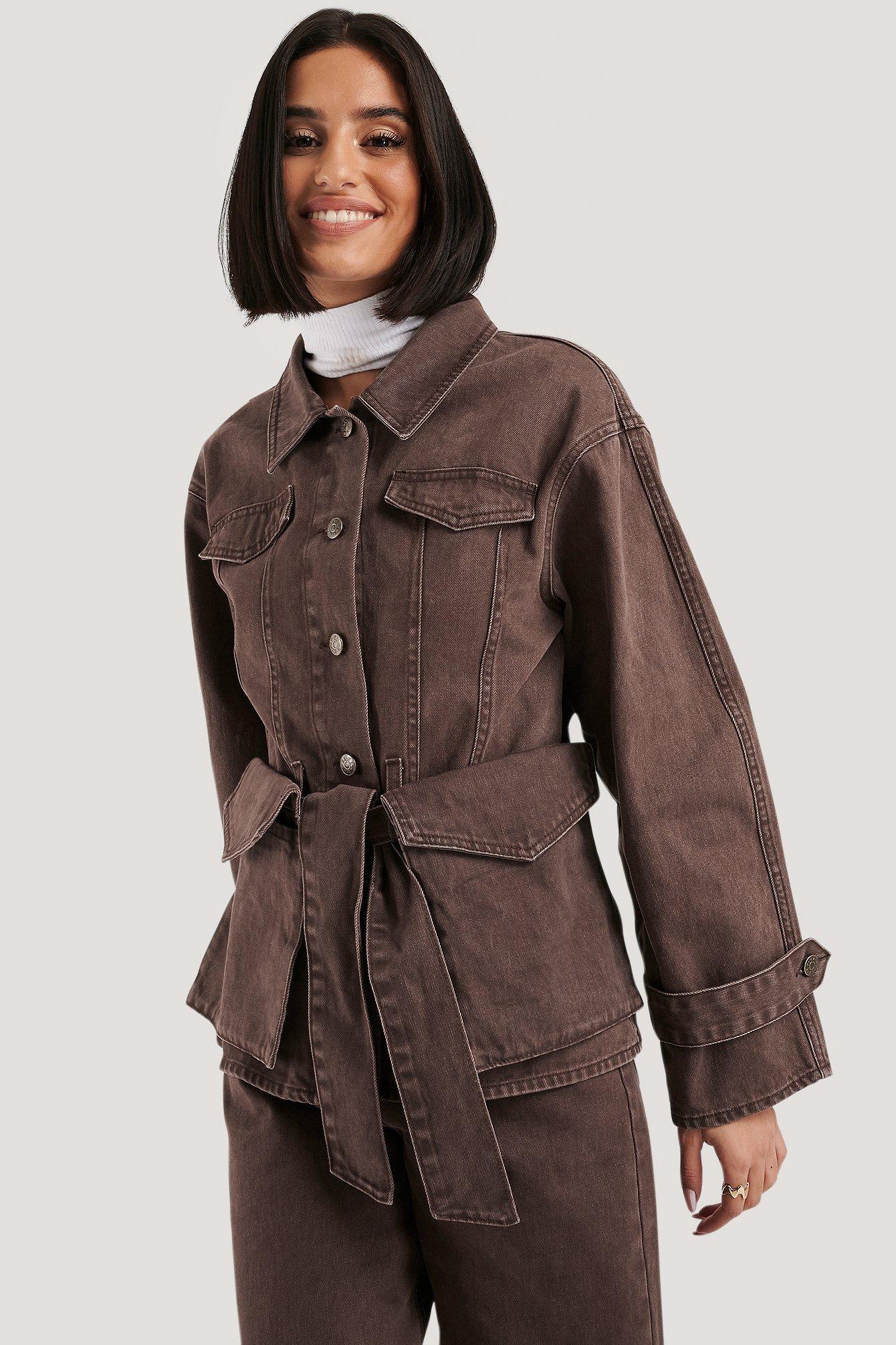 na-kd -  Belted Denim Jacket - Brown