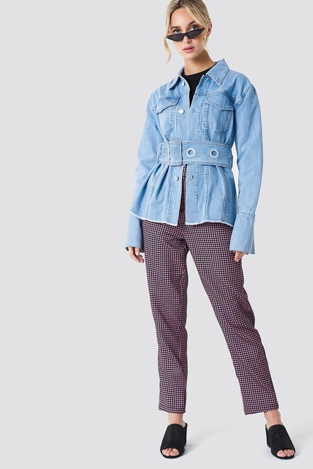 Belted Denim Jacket Light Blue