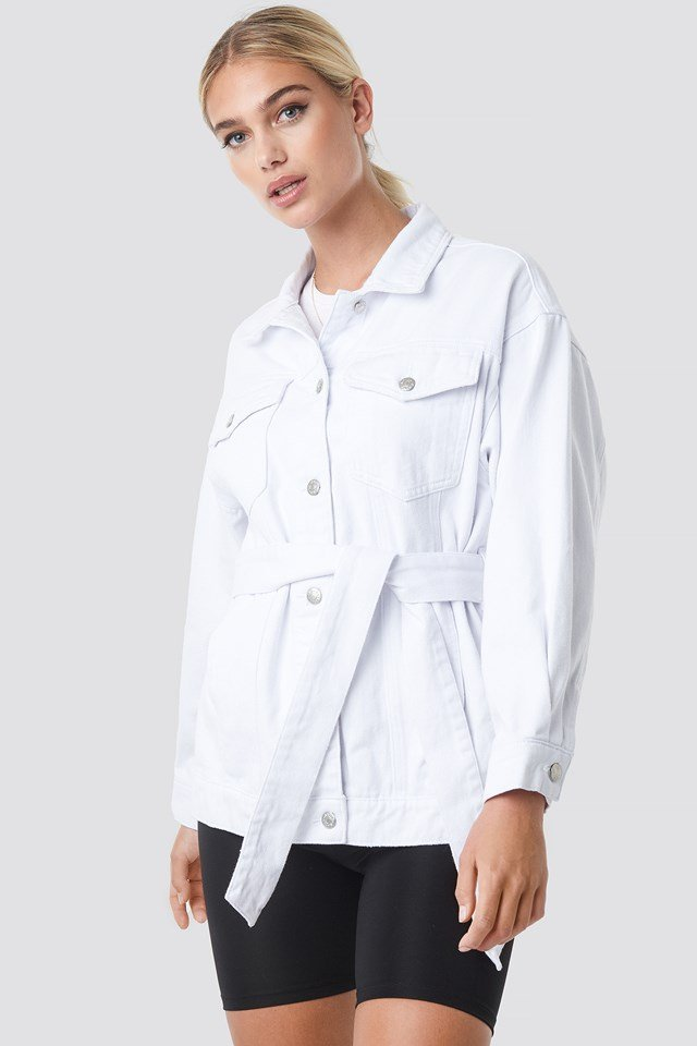 Belted Denim Jacket White