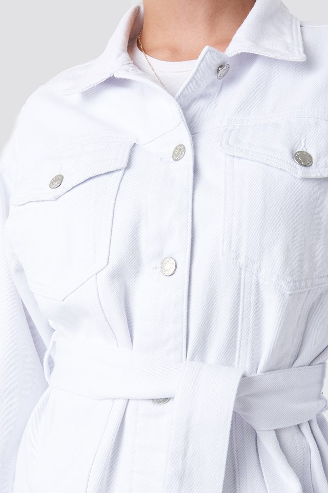 Belted Denim Jacket White