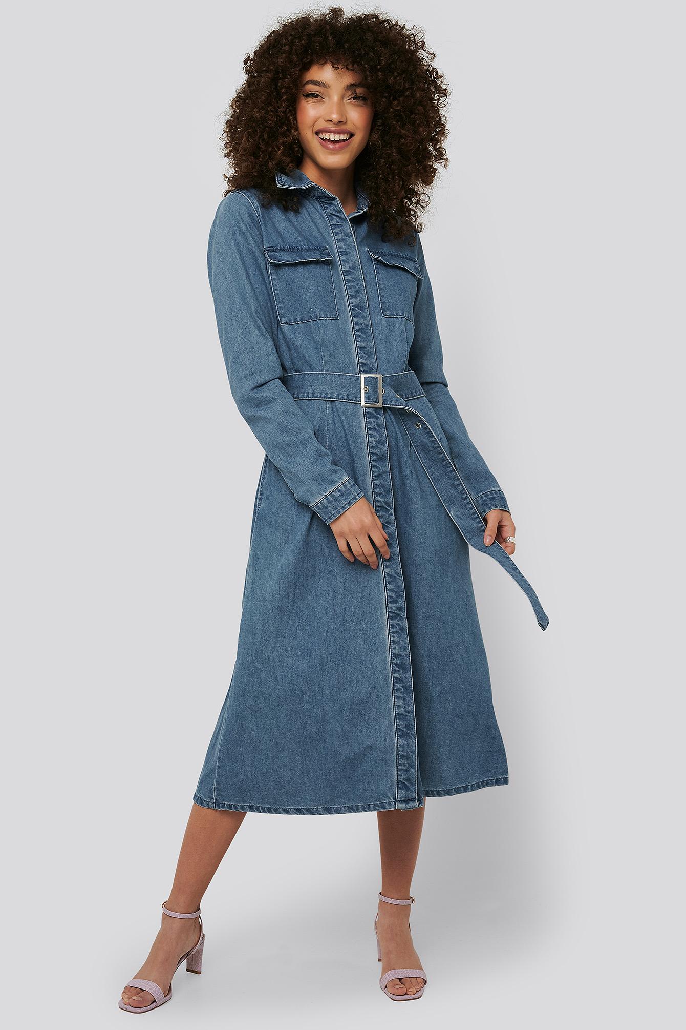 na-kd -  Belted Denim Shirt Dress - Blue