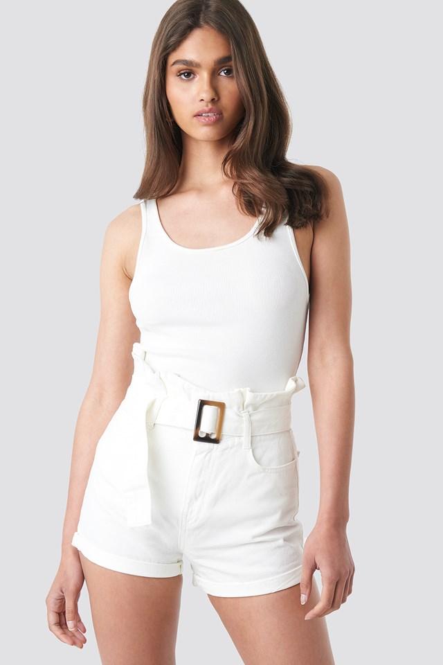 Belted Denim Shorts Offwhite