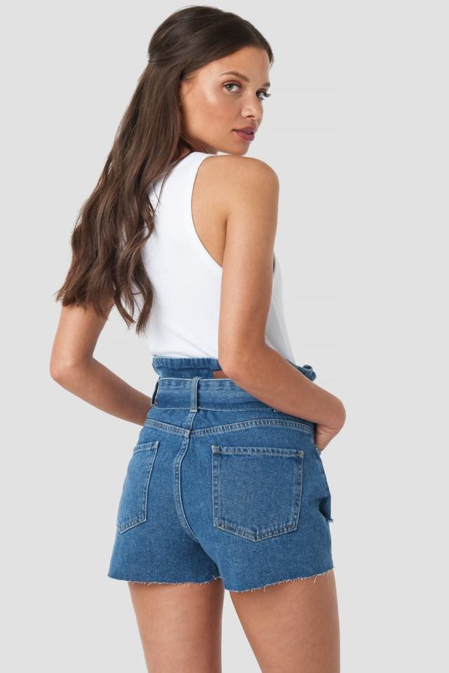 Belted Destroyed Denim Shorts Mid Blue