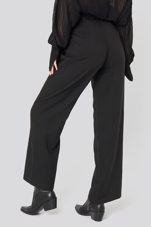 Belted Flared Pants Black