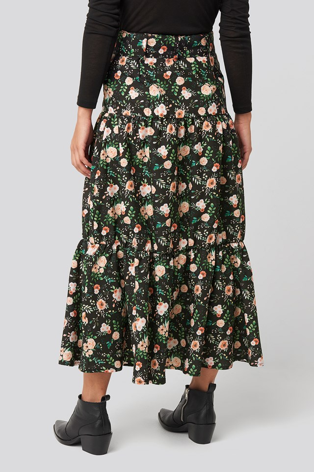 Belted Floral Midi Skirt Floral Print