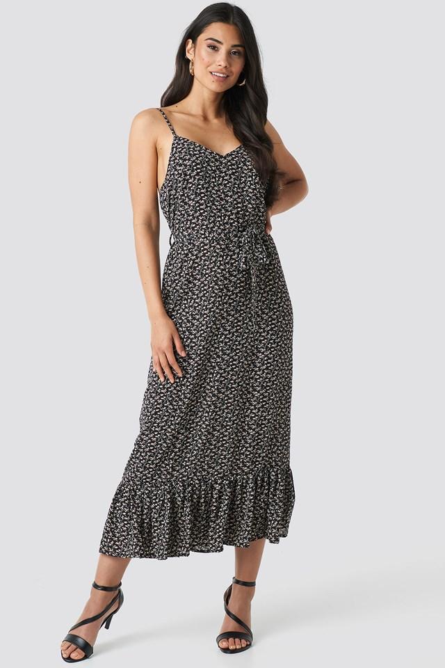 Belted Flounce Midi Dress Black