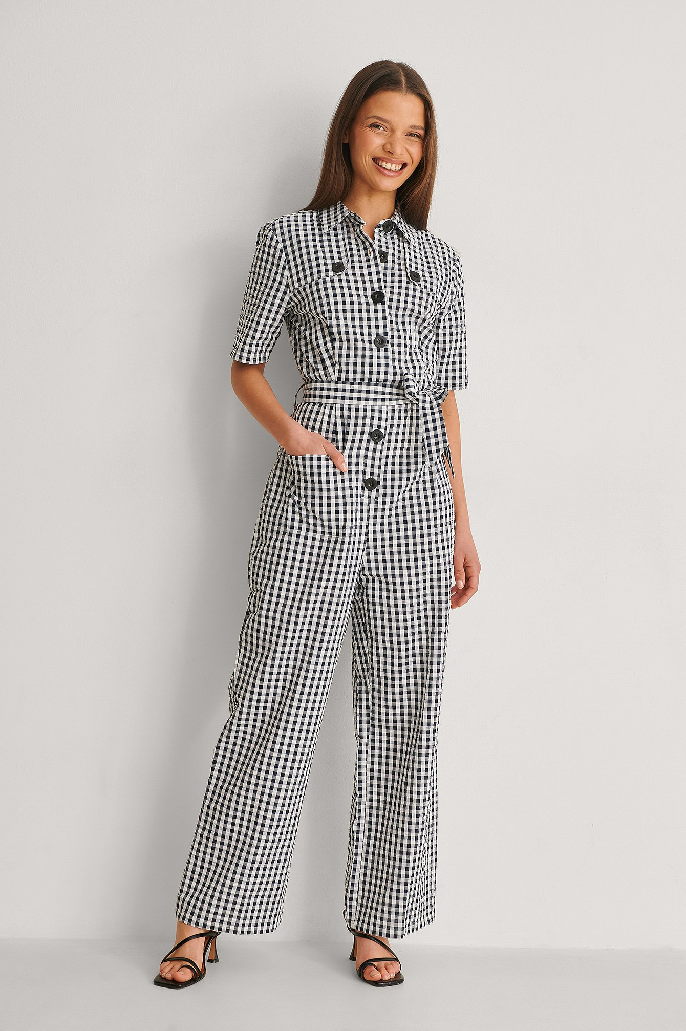 Checkered Belted Gingham Jumpsuit