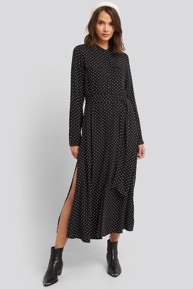 Belted Grandad Collar Shirt Dress Black/White dots