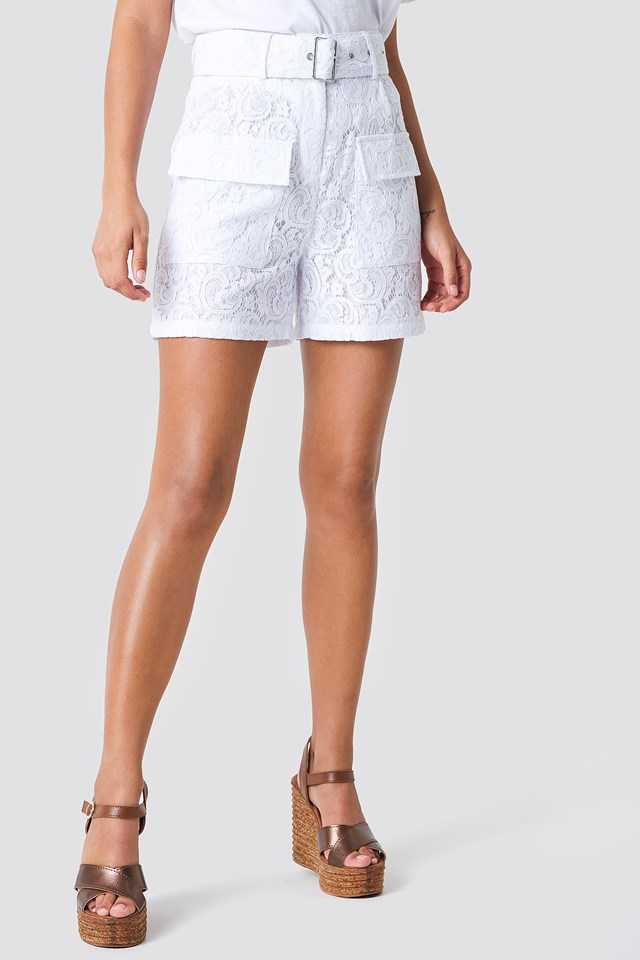 Belted Lace Shorts White