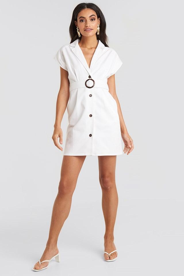 Belted Lapel Denim Dress White