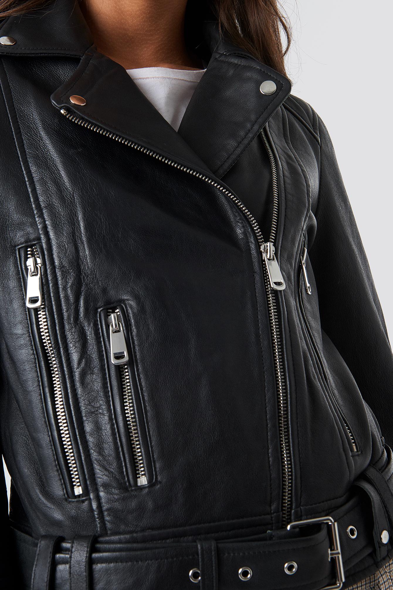 Belted Leather Jacket NA-KD.COM