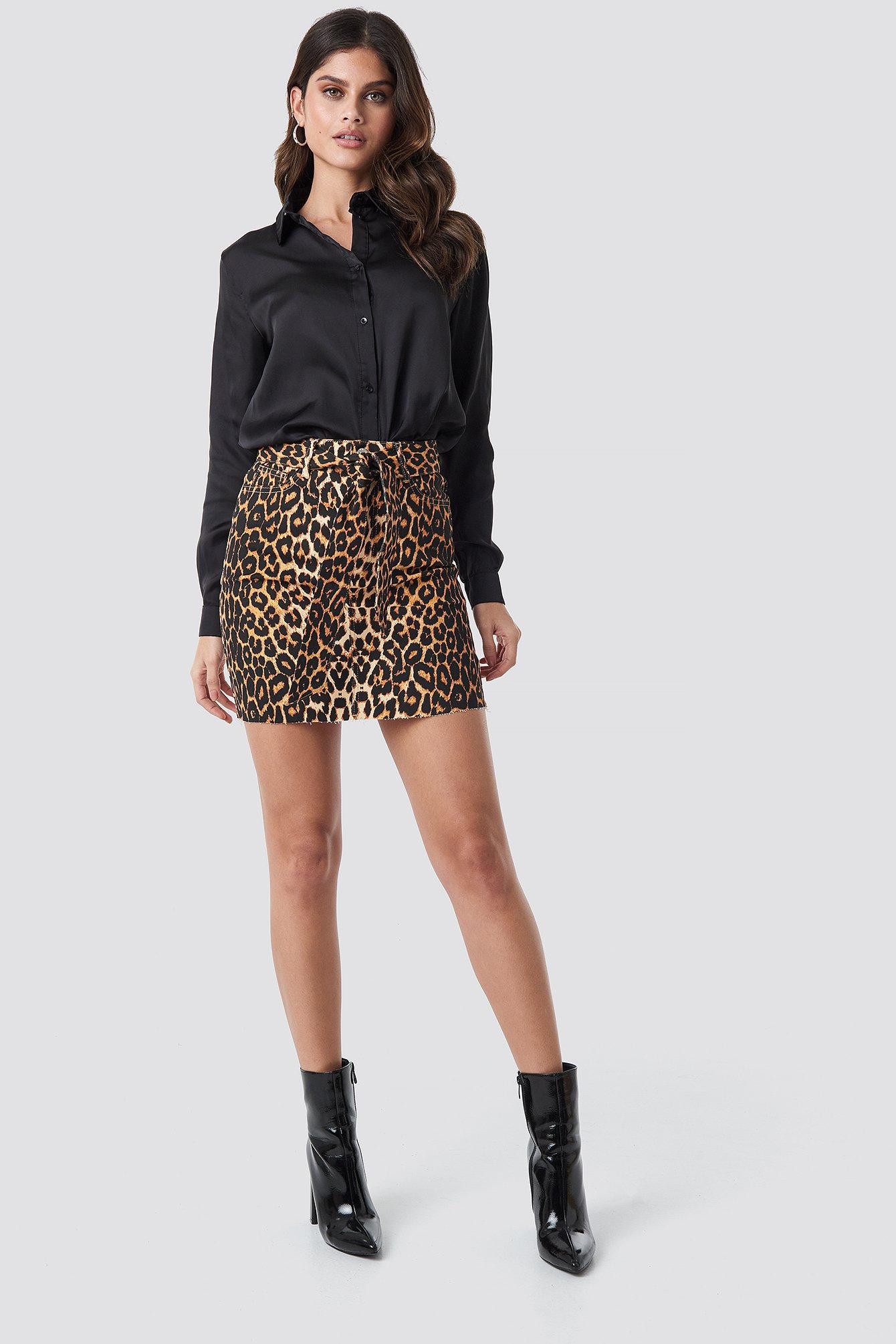 NA-KD Trend Belted Leopard Denim Skirt - Multicolor