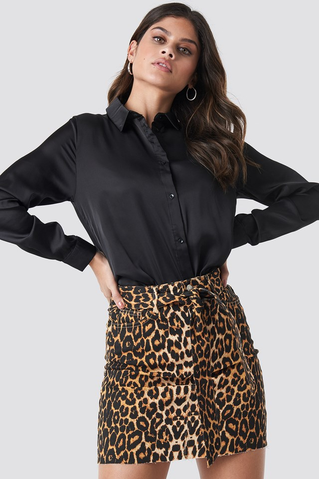Belted Leopard Denim Skirt Leopard