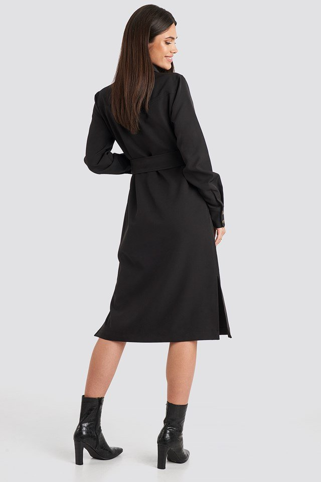 Belted Long Shirt Dress Black