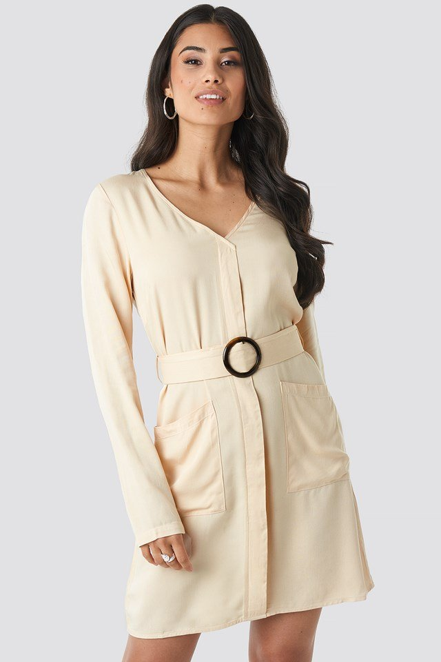 Belted Long Sleeve Dress Cream