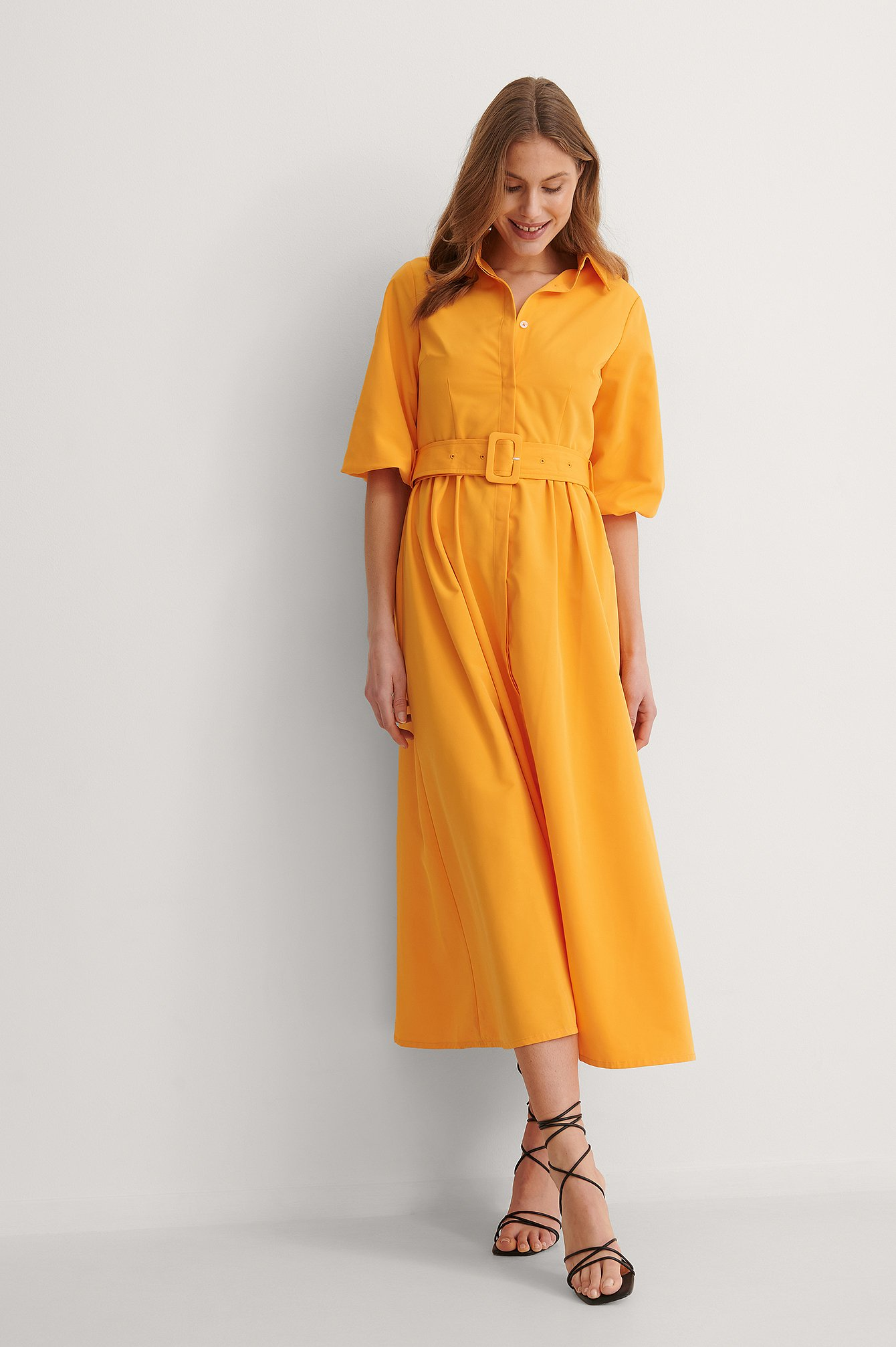na-kd trend -  Langärmeliges Maxikleid - Orange