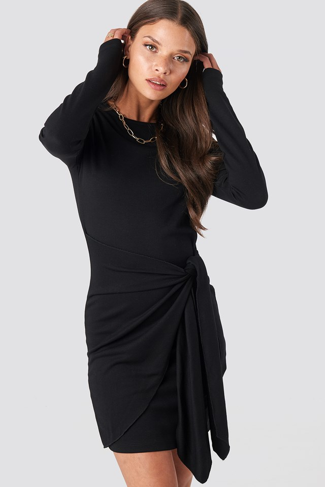 Belted Long Sleeve Mini Dress Deep Black