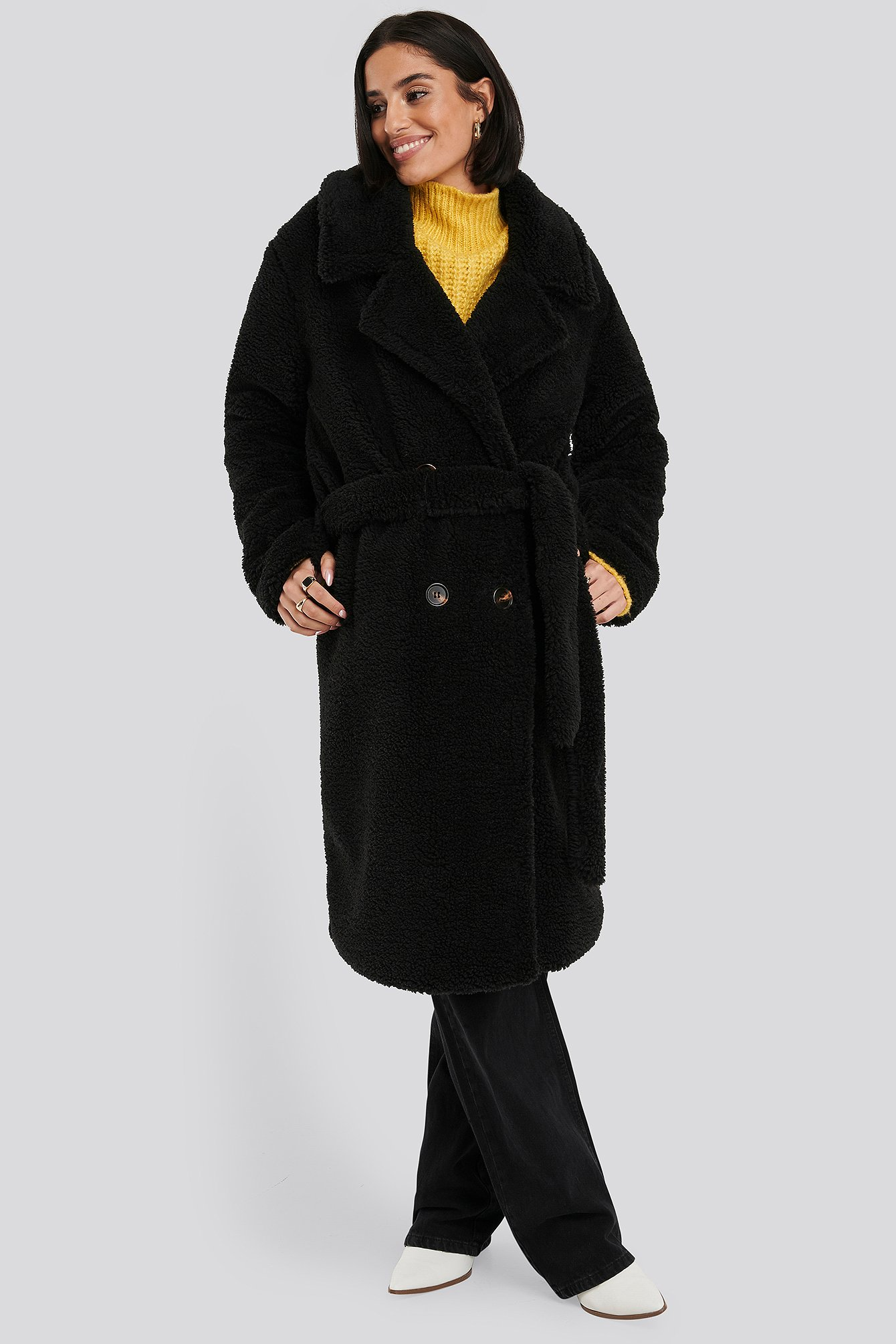 NA-KD Belted Long Teddy Coat - Black