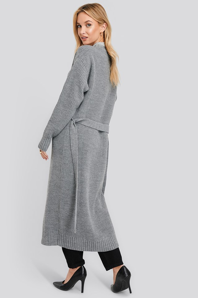 Belted Maxi Cardigan Grey