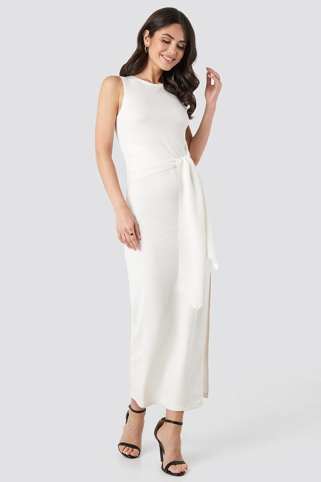 Belted Maxi Jersey Dress Off White