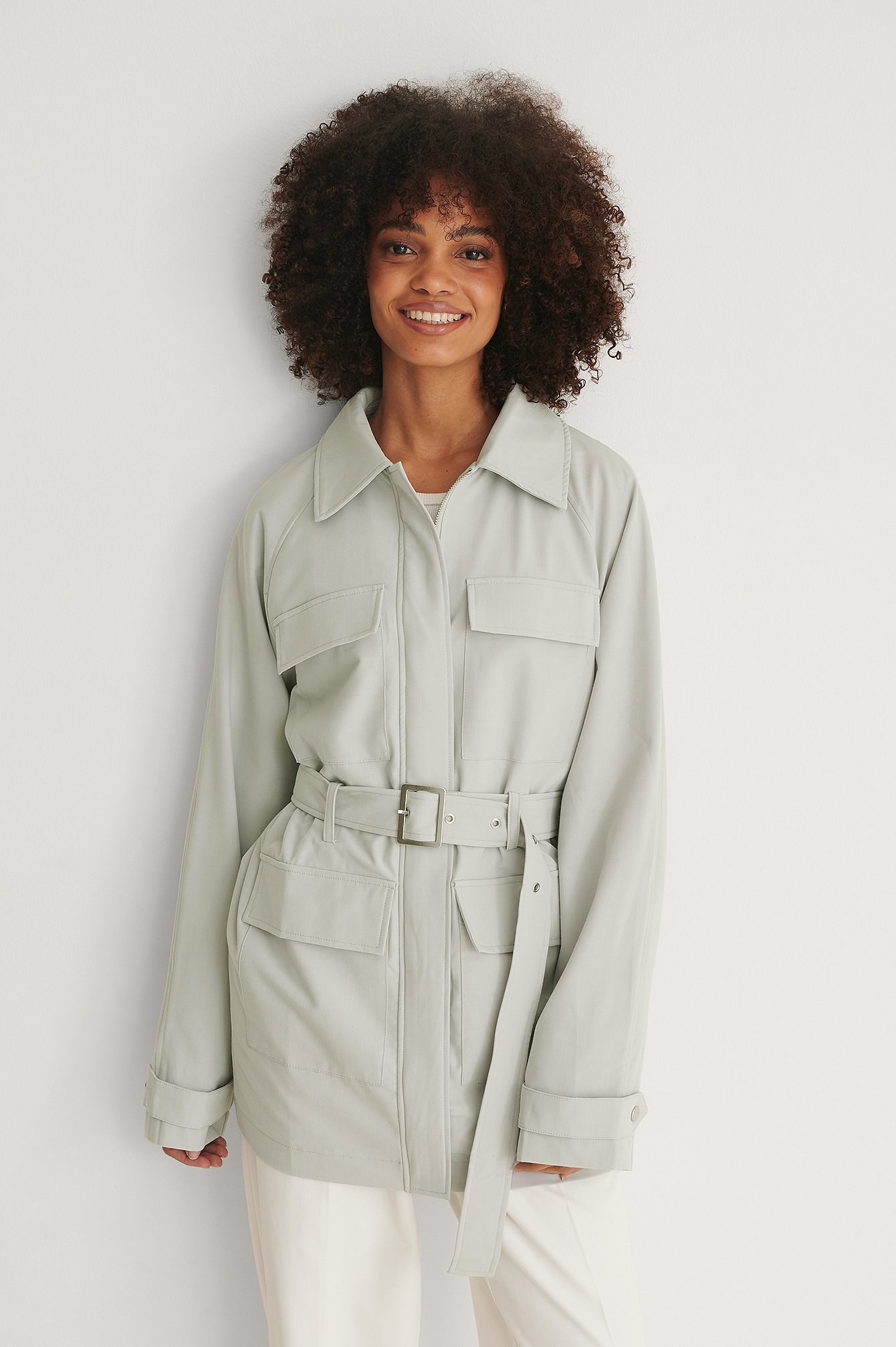 Light Grey Belted Melange Jacket