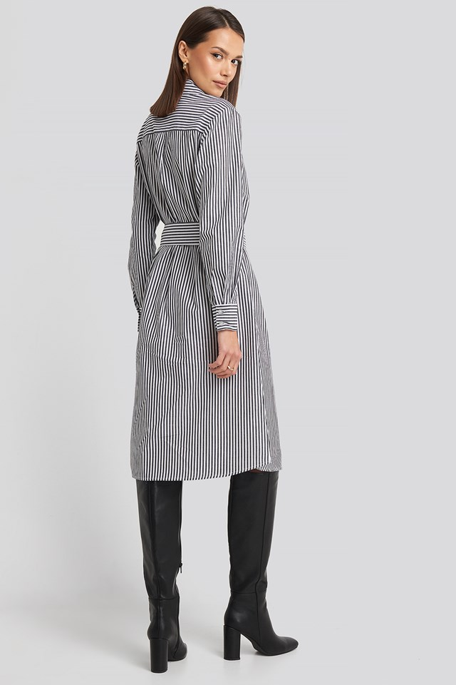 Belted Midi Shirt Dress Grey/White