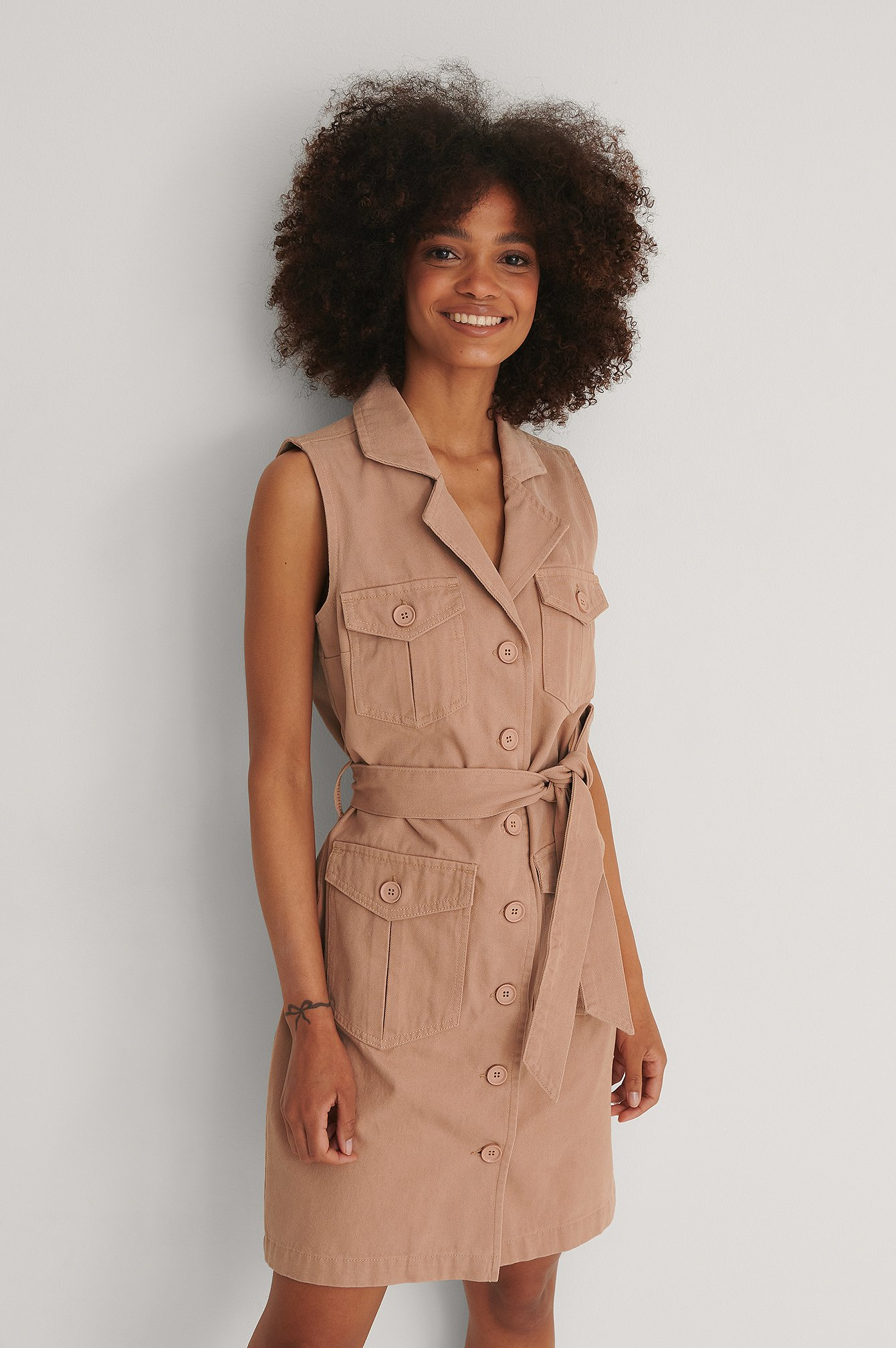 Dusty Pink Belted Mini Denim Dress