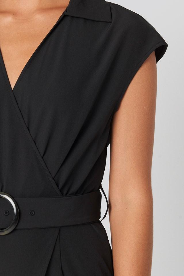 Belted Mini Dress Black