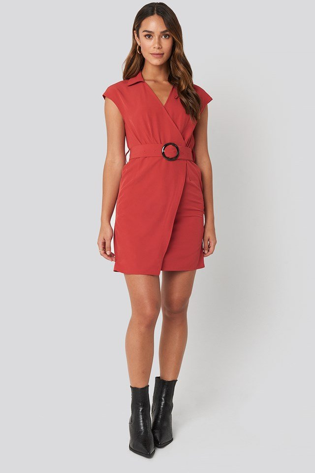 Belted Mini Dress Red