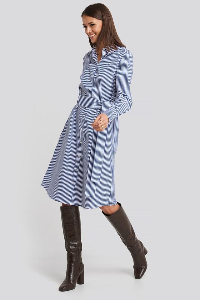 Belted Midi Shirt Dress Blue/White