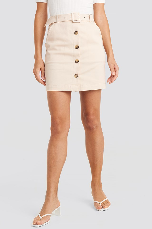 Belted Mini Skirt Sand