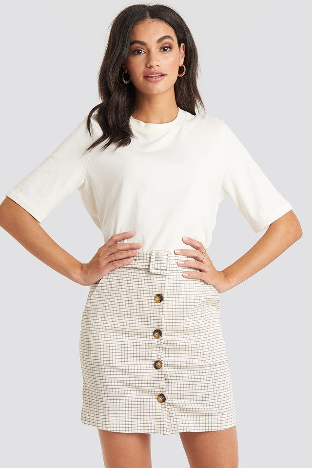 Belted Mini Skirt Check